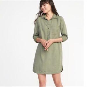 Old Navy olive green twill shirt dress